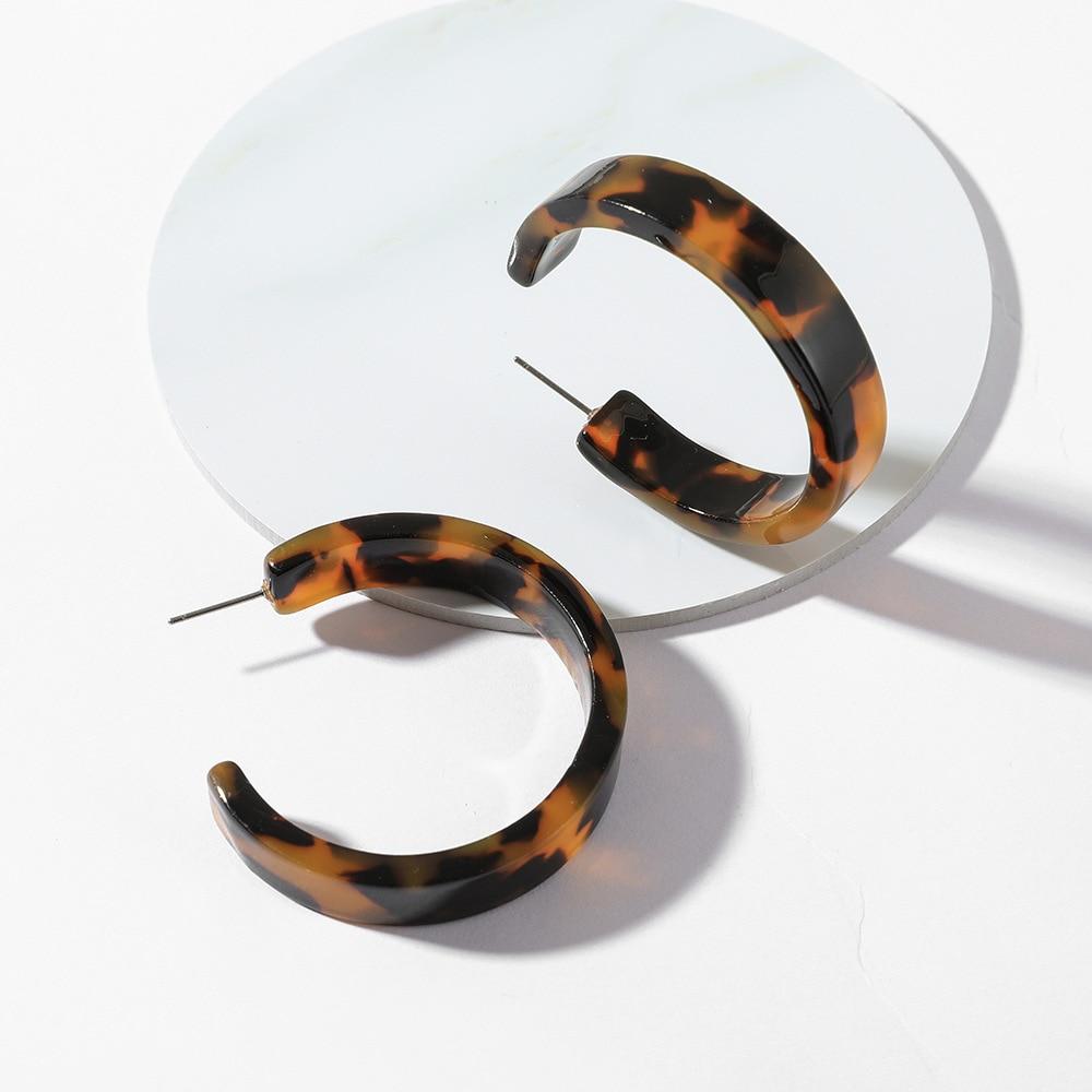 2020 Tortoiseshell Acrylic Hoop Earrings for Women Bohemian Big Round Geometric Statement CC Korean Earrings Fashion Za Jewelry