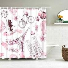 цена на Dafield Pink Paris Shower Curtain With Tower France Design Print Fabric Bathroom Shower Curtains France