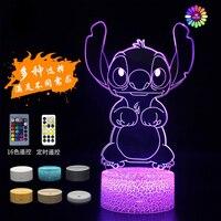 Disney Star-luz de noche LED 3D de punto de dibujos animados para bebé, lámpara de mesita de noche con enchufe usb de 7/16 colores, decoraciones de regalo de cumpleaños creativas