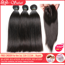 Satai Hair Closure Human-Hair-Bundles 8-40inch Straight Brazilian with Medium-Ratio Non-Remy