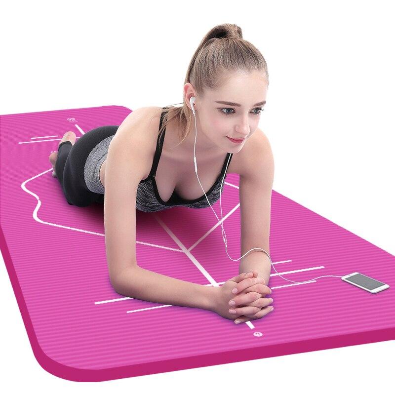 10mm Yoga Mat for Beginner with Position Line Non-slip Gym Yoga Mat Thicken Widen Men Women Yoga Exercise Dance Fitness Mat