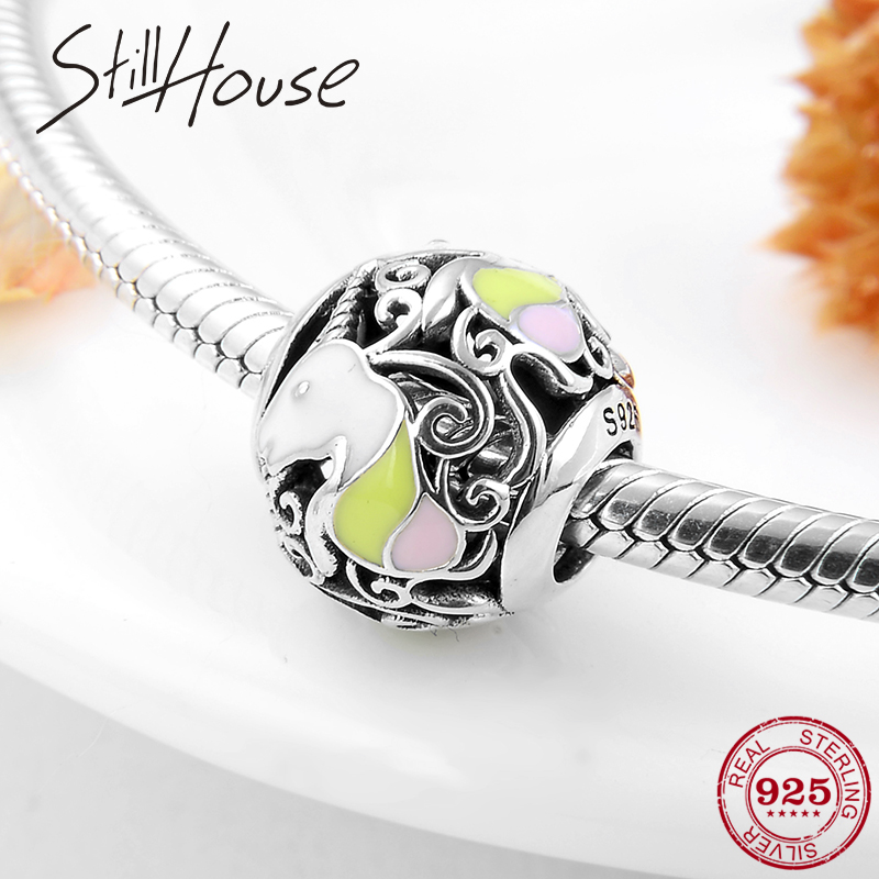 New 925 Sterling Silver Round Shape Cute Unicorn Colorful Enamel Charms Beads Fit Original Pandora Charm Bracelet Jewelry Making
