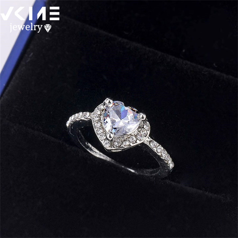 VKME Fashion Crystal Ring Openwork Crown Silver color Ring Ladies Ring Jewelry
