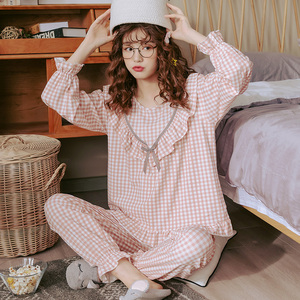 Image 5 - Bzel綿チェックパジャマ女性のファッションパジャマセットかわいいピンクpijamasラウンドネックファムパジャマプラスサイズナイトウェアM XXXL