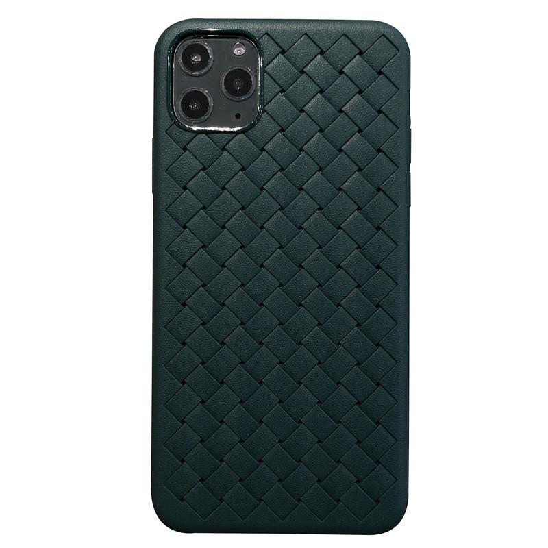 Высококачественный чехол для мобильного телефона из ТПУ с ткацким узором, зеленый, черный чехол для iphone 11 pro max 6 6s 7 8 plus x xr xs max