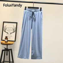 New Spring Women Pants Trousers Plus Size XXXL Casual Loose High Waist Wide Leg Pants KKFY4356 new women pants high waist wide leg pants women s elegant lace trousers streetwear plus size women wide leg pants new hot sale