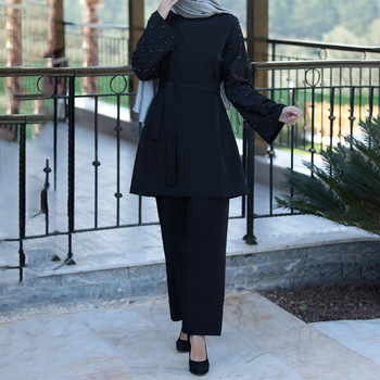 Muslim 2 Piece Sets Women Abaya Dubai Lace up Tops and Wide Leg Pants Kaftan
