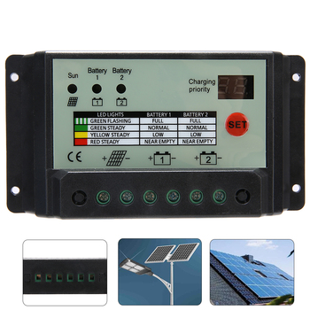 1pcs 20A Dual Battery Solar Charge Controller Regulator Solar Power Controllers 12V or 24V Batteries 10a dual battery solar charge controller regulator 12v 24v with remote meter mt1 control solar charger controller