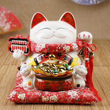 Hot Selling Newest Lucky Cat Ornaments Lucky Cat Maneki Neko Japanese Ceramic Lucky Cat Piggy Bank Creative Gifts Money Boxes