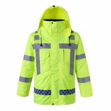 Safety Jacket Motorcycle Coat Hi-Vis Reflective Winter Warm Men Plus-Size