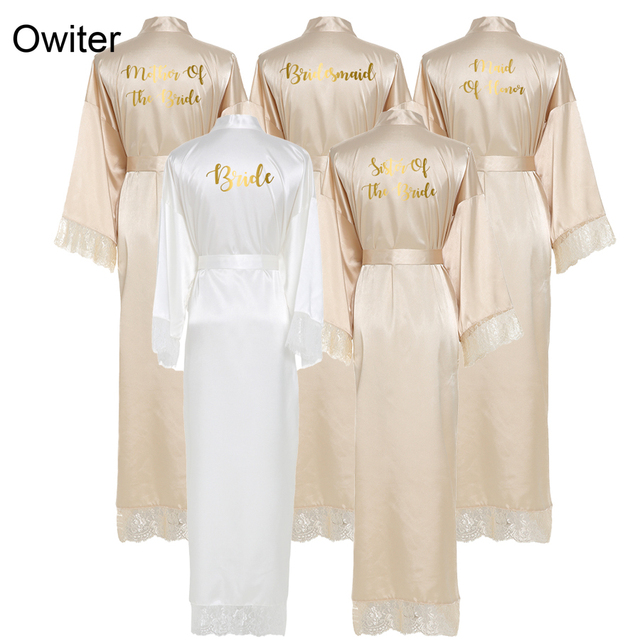 Owiter New Silk Satin Lace Robes Bridesmaid Bride Robes Wedding Long Robe Bathrobe Lingerie Gown Sexy Nightgrowns Dressing