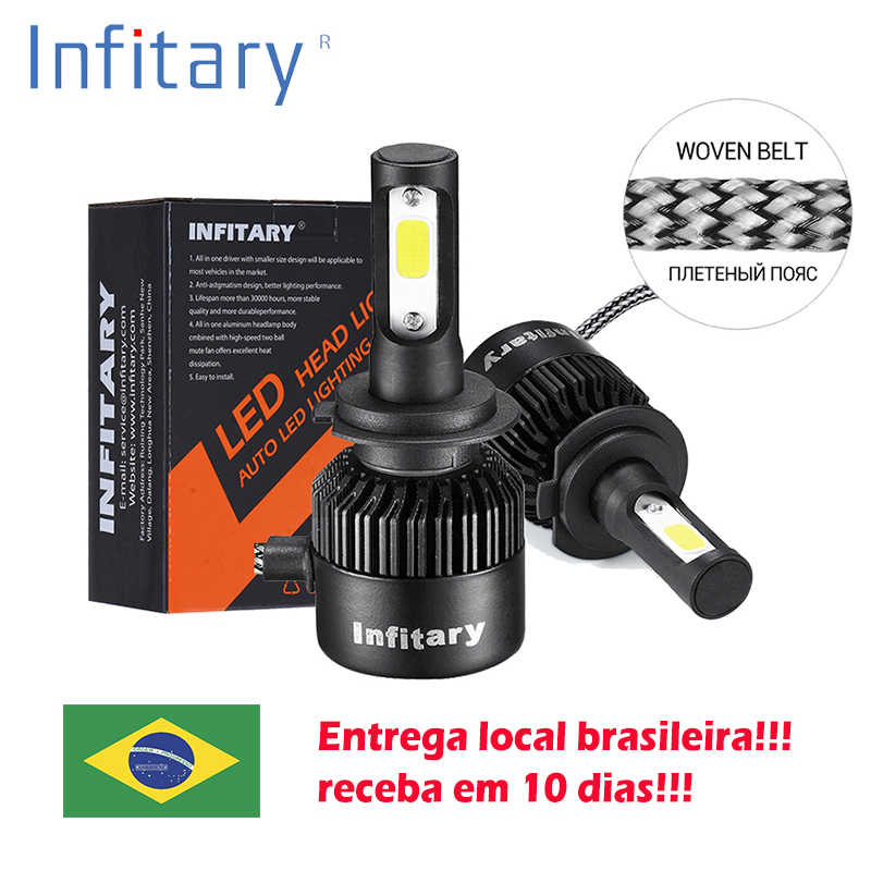 2Pcs Infitary Car Headllight send from Brazil H7 LED H4 LED Bulb H1 H3 H11 72W 8000LM 6500K Fog Light 12V Auto Headlamp Lamps