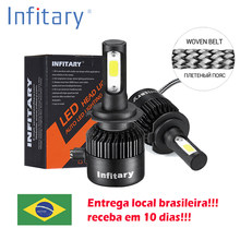 2Pcs Infitary Car Headllight send from Brazil H7 LED H4 LED Bulb H1 H3 H11 72W 8000LM 6500K Fog Light 12V Auto Headlamp Lamps(China)