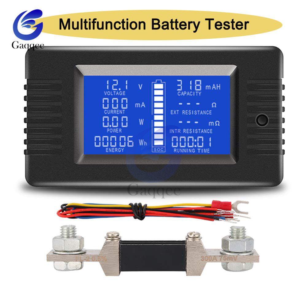 Car Battery Capacity Tester 0-200V DC Voltage Current Power Capacity Meter Resistance Residual Electricity Meter 0-300A Shunt