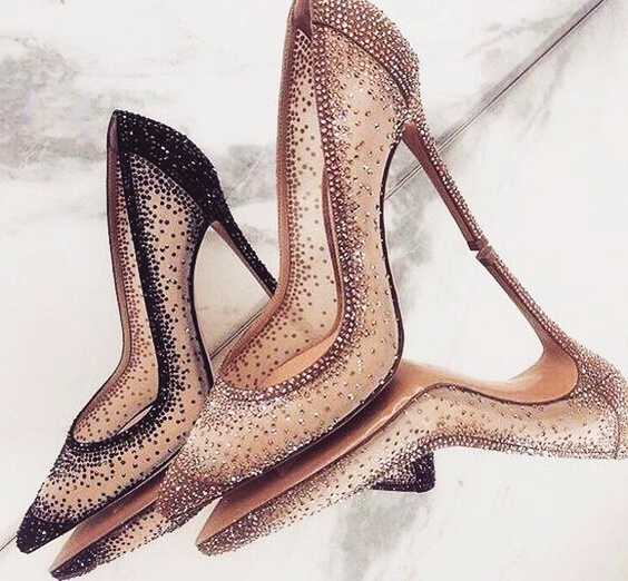 Extremely Stunning Pumps Crystal Decor Bling Bling Wedding Shoes High Heel Rhinestone Woman Dress Party Shoes Gold Mesh