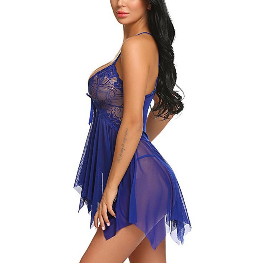 H149630f65e4045e69c08270215b66ab9l Women Sexy Nightwear See Through Plus Size S-XXXL Lace Nightgown Sleepwear Dress G-String Sexy Lingerie Robe Dropshipping