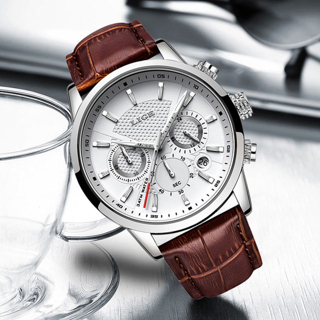 LIGE Leather Chronograph Watch 4