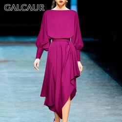 Женский комплект из двух предметов GALCAUR, рубашка с круглым вырезом и рукавами-фонариками, туника с высокой талией и рюшами, асимметричная юб...