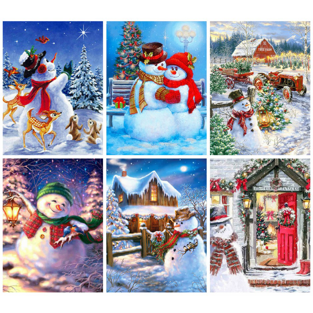 Huacan DIY Full Diamond Embroidery Complete Kit Christmas 5d Painting Drill Square Snowman Art