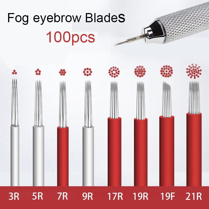 100pcs Microblading Blades Lamina Shading Hard RL5 Liner Microblading Tebori Needles Manual Needle For Fog Eyebrow Round Needles