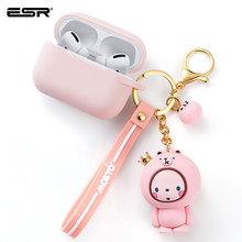 ESR Cartoon Case for AirPods Pro Soft Slim Silicone Charging Cover Shockproof Case with Cute Monkey Keychain for AirPods 3 2019