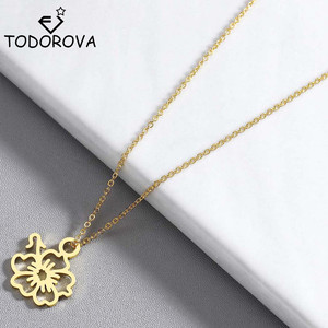 Todorova Stainless Steel Gold-color Hibiscus Flower Pendant Necklace Link Chain Necklace Rose Gold Fashion Jewelry for Women