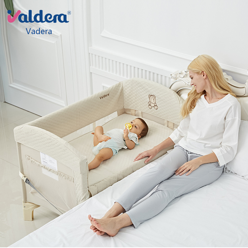 Vadera Portable Foldable Baby Bed Multi Functional Full Package Peach Skin Pile Splicing Big