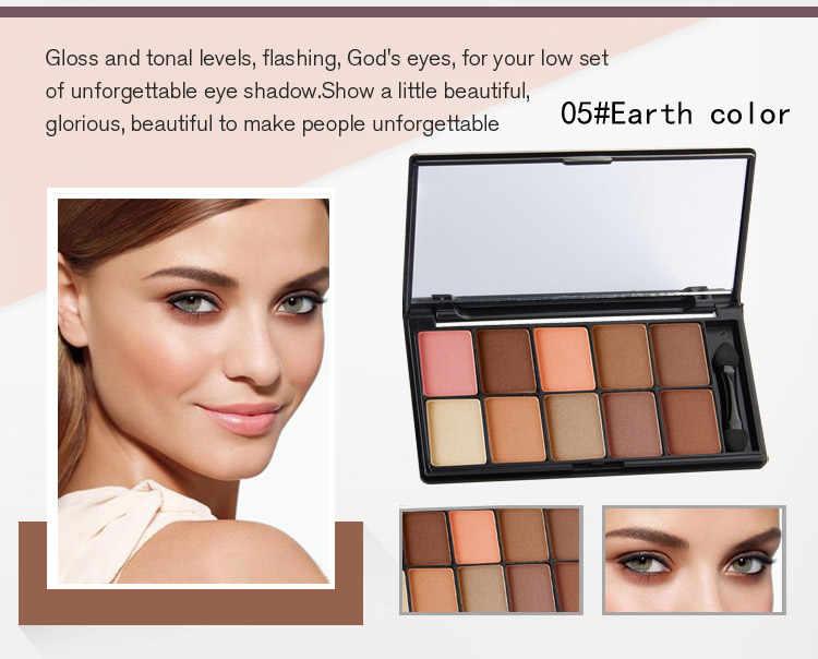 Kualitas Telanjang Palet Eye Shadow Merek Makeup Nude Smoky Glitter Matte Eyeshadow 10 Warna Eye Shadow dengan Eye Shadow tongkat