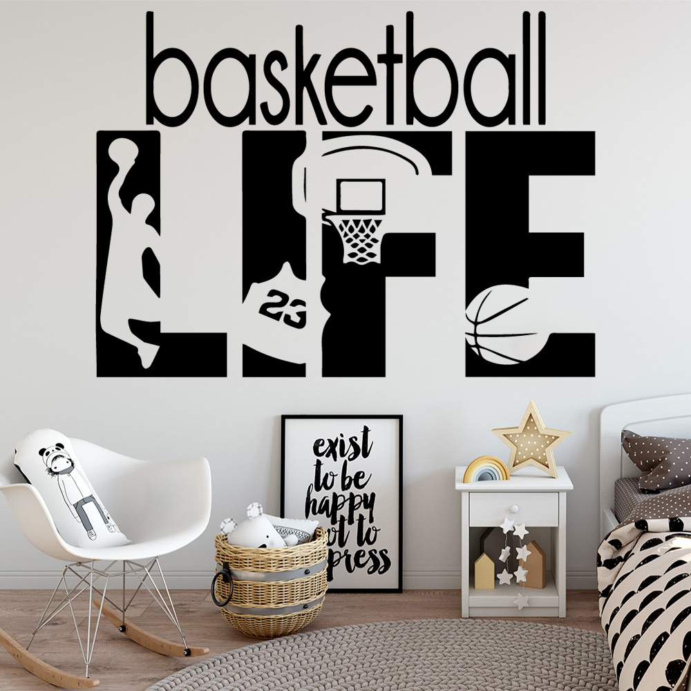 Виниловая настенная наклейка баскетбольная жизнь Наклейка на стену для детских комнат домашний Декор стикер s обои муур стикер