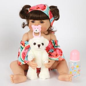 Bebe reborn 22 ''Molle Del Silicone Del Bambino Rinato Giocattoli Della Bambola Della Ragazza Del Bambino Bambole In Vinile Pieno carino Bambole Bebe Reborn Ragazza bambola
