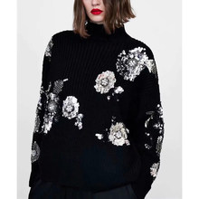 Autumn winter knitted Sequined sweater women high collar shiny floral pattern Casual stretch sweater ZA style femme tops(China)