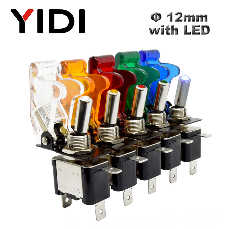 Auto Car Boat Truck 12V LED Toggle Switch Light Illuminated 3pin ON Off 20A With Safety Aircraft Flip Up Cover Guard Red Green