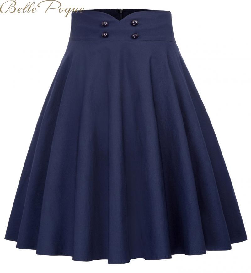 Belle Poque 2019 Autumn Pleated Skirts Elegant High Waist Skirts For Women A Line Midi Elastic Skirt