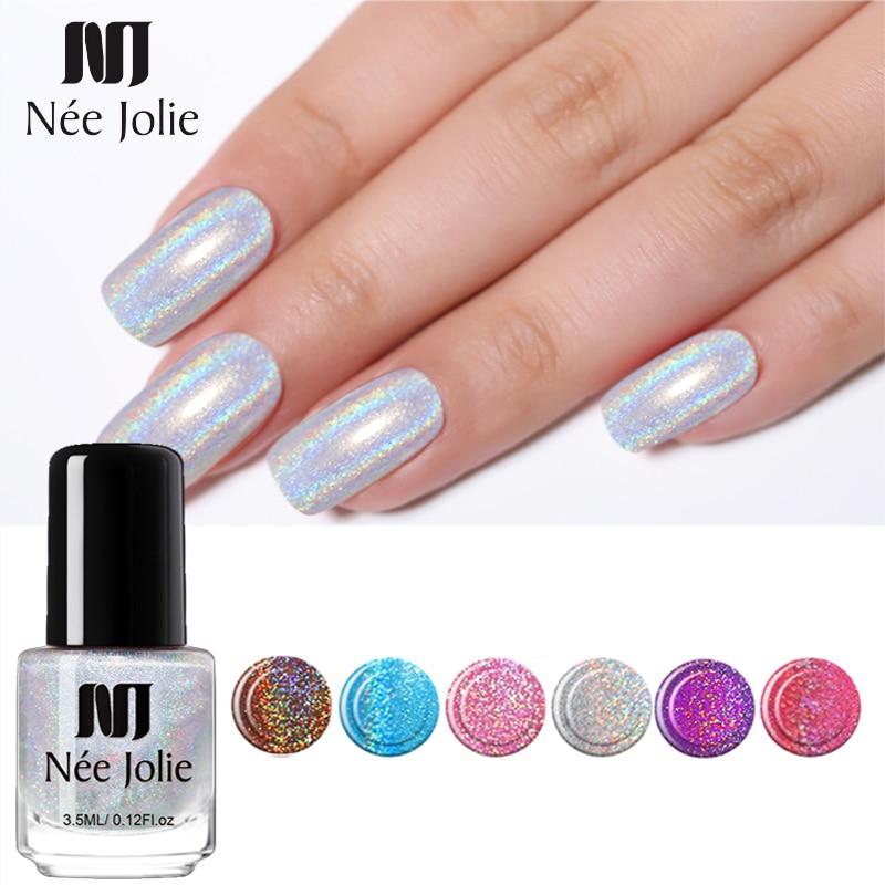 NEE JOLIE 3.5ml  Laser Nail Polish Glimmer Pink Nail Art Oily Varnish DIY Idea Nail Art Varnish Polish 63 Colors