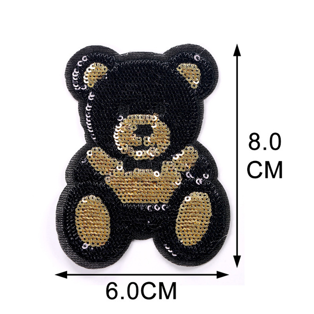 1 Piece S/L Size Cute Bear Sequins Embroidery Stickers Children'S Cloth Patches Holes Patches Cartoon Cloth Embroidery 3