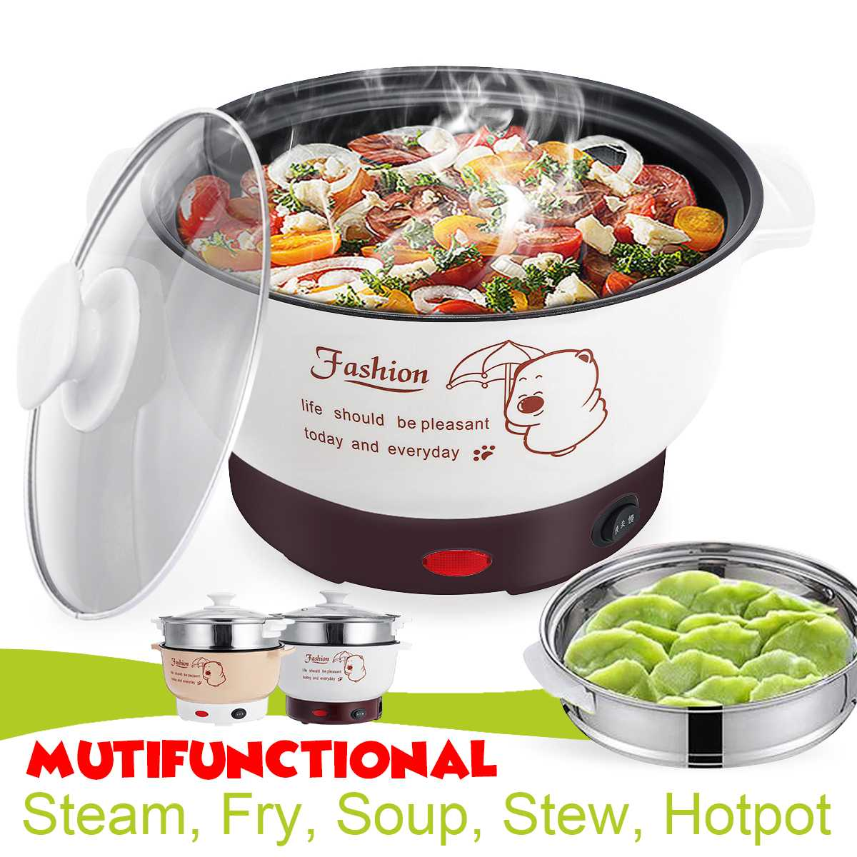 Electric Cooker Non-stick Pan Compound Multi-layer Bottom 2.7/ 3.8L Multifunctional Steam Fry Soup Stew Hotpot Pot Cookware