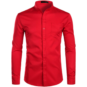 Image 5 - Mens Banded Collar Pink Dress Shirt 2019 Brand New Long Sleeve Casual Button Down Chemise Work Casual Shirt with One Pocket 2XL