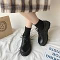 Женские кожаные туфли оксфорды, однотонные черные туфли на толстой плоской платформе, со шнуровкой, повседневная обувь, на осень