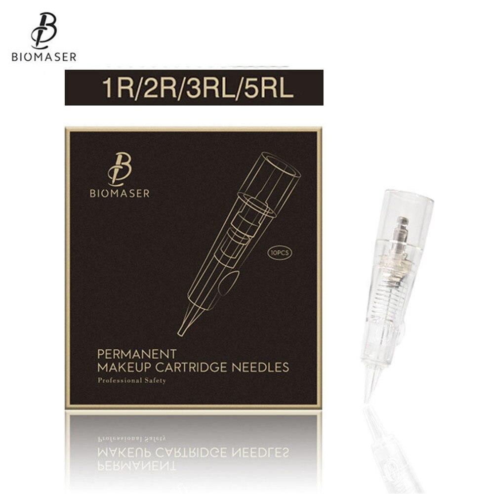 BIOMASER Cartridges Tattoo Needles Permanent Makeup Stainless Cartridge Needle For Shading Fog Eyebrow Lip 1RL Tattoo Machine