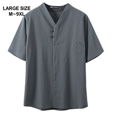 Estilo chinês super plus size M-9XL verão casual com decote em v manga curta t-shirts homem solto t 5xl 6xl 7xl 8xl 9xl