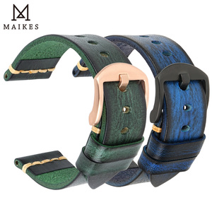 Image 2 - MAIKES Handmade Cow Leather Watch Strap 7 Colors Available Vintage Watch Band 20mm 22mm 24mm For Panerai Citizen Casio SEIKO