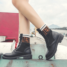 Autumn Winter Martin Boots Women Fashion Warm High Top Boots Black Sock Boots Shoes Woman Botas Platform Shoes Women Ankle Boots free shipping martin boots motorcycle black boots women new arrived fashion women winter and autumn woman plush boots