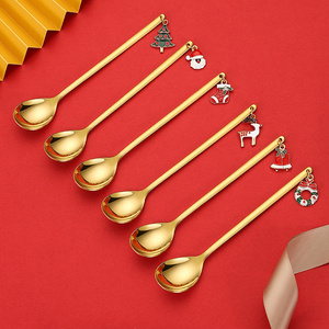 Christmas Decorations Coffee Spoon New Year 2021 Xmas Party Table Ornaments Noel Navidad Natal Stainless Christmas Spoon Decor