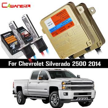 Cawanerl 55W Car Light HID Xenon Kit No Error Ballast Bulb AC 12V Auto Headlight Low Beam For Chevrolet Silverado 2500 2014