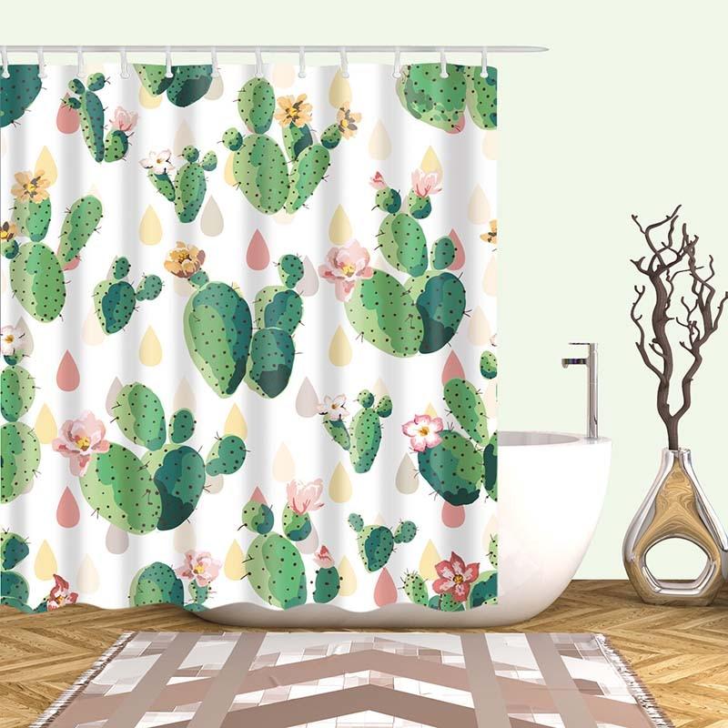 Тропический кактус, занавеска для душа, полиэфирная ткань, занавеска для ванной комнаты, украшения для ванной комнаты, мульти-размер, занавеска для душа с принтом s - Цвет: 13