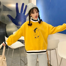 2019 new female long sleeve half high collar Harajuku loose ulzzang no hat lazy honey sweatshirt tracksuit size ins tata top