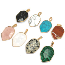 LE SKY New 1 Piece Irregular Shape Natural Stone Pendants & Necklace Charms for Jewelry Making Supplies Wholesale 22x35