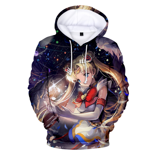Anime Hoodies Sailor Moon 3D Printed Harajuku Streetwear Sailor Moon Sweatshirt Hoodie Women High Quality Coat 1