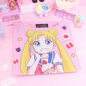Image 5 - Cosplay Sailor Moon sakura figurka szkło hartowane śliczne elektroniczne cyfrowe waga podłogowa bilans wagi wyświetlacz LCD nowość