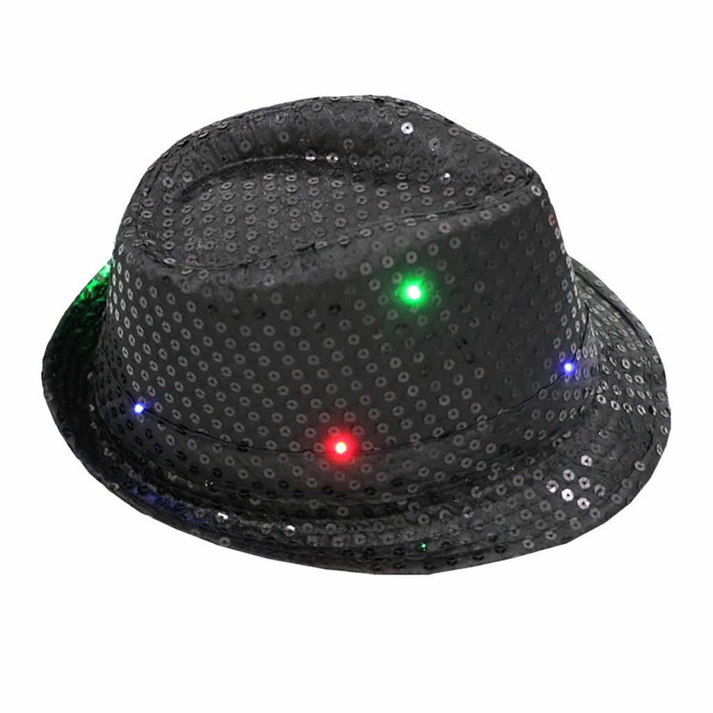 Yeni varış yanıp sönen ışık Up LED Fedora fötr pullu süslü elbise dans parti şapka Unisex 10.7